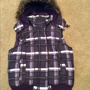 H2J Purple Plaid Puffer Vest